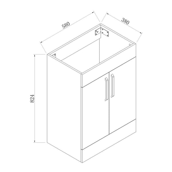 Freestanding 600mm Bathroom Vanity Unit with Basin-White,2 Doors,2 Shelves