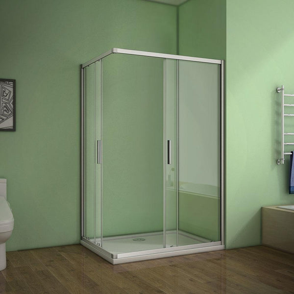 Shower enclosure double sliding door corner entry