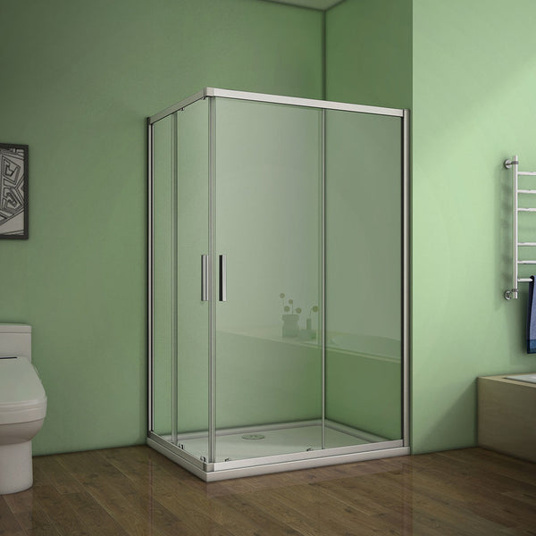 Corner entry sliding shower cubicle,Tray Optional 700-1000mmx1850 Double Doors