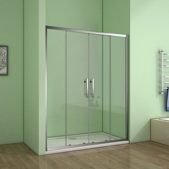 1200x1850mm Walk In Sliding Shower Enclosure Screen Door Chrome