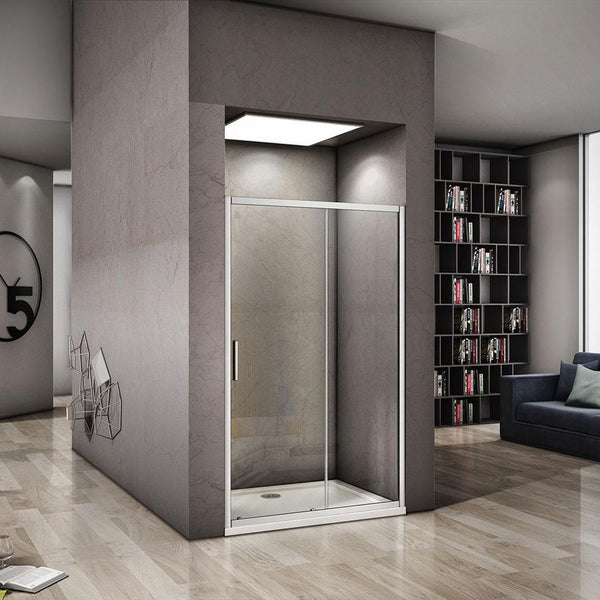 Bifold Pivot Sliding door Shower Enclosure Electro off white aluminum frame