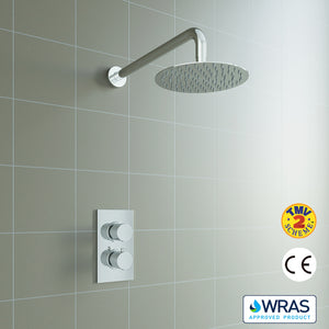 AICA Concealed Round Thermostatic Shower Mixer Chrome Bathroom Twin Head Valve Set