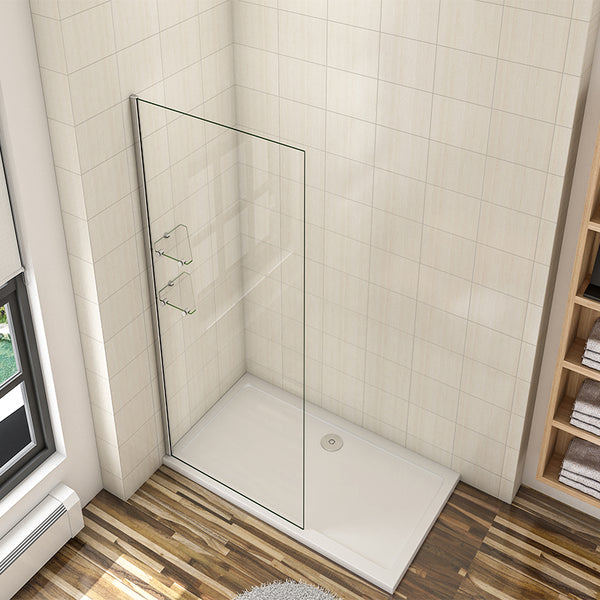 800 - 1200mm Walk in Shower Wet Room screen Easy Clean NANO Clear Tempered Glass 8mm