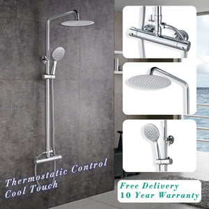 "AICA Thermostatic Shower Mixer Set Exposed Round Twin Head Chrome Valve 10"" Overhead"