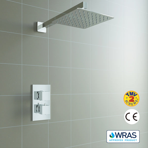 Concealed SquareThermostatic Shower Mixer Chrome Bathroom Twin Head Valve Set