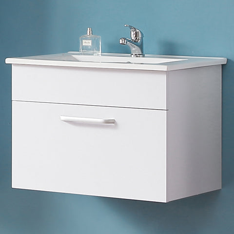 Bathroom Vanity Unit with Sink Wall hung Cabinet Cupboard Storage Furniture White