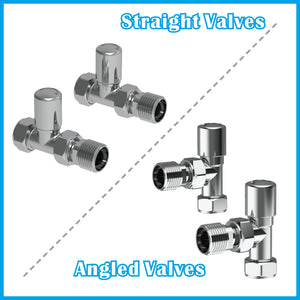 "15mm x 1/2"" Angled & Straight Valves Towel Rail Designer Radiator Valves"