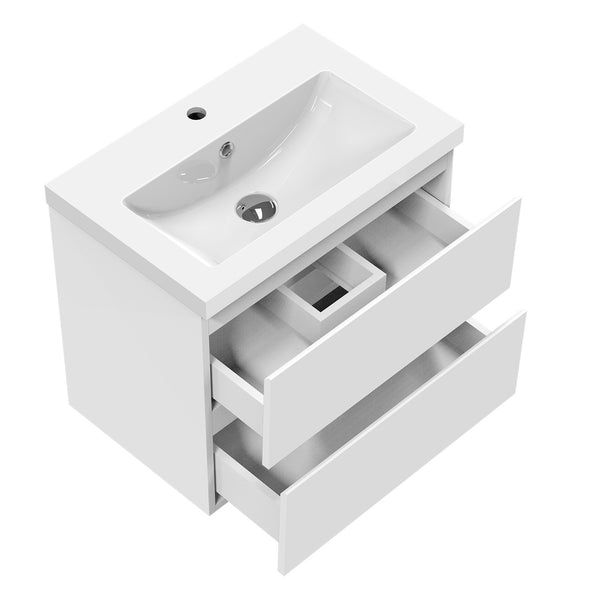 500mm Designer Bathroom Wall Hung Vanity Units with Sink,2 Drawers,White and Grey
