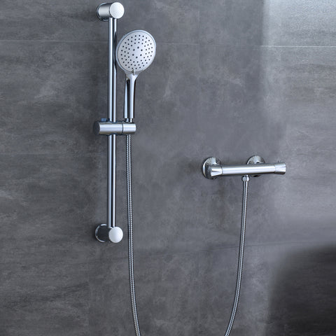 AICA Thermostatic Shower Mixer Set Round Exposed Valve Modern Chrome Bathroom