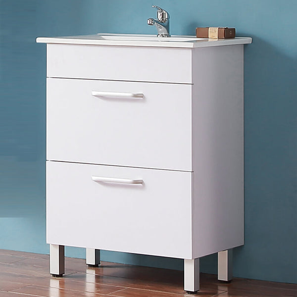 Floor Standing Vanity Units with Basin and Drawers,600mm,White