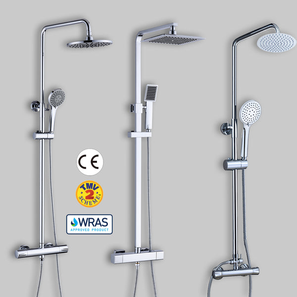 Thermostatic Mixer Shower Set Square Round Head Chrome Twin Head Exposed Valve