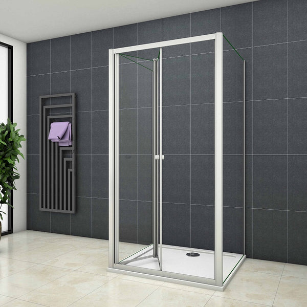 Height 1850mm Shower Enclosure bifold pivot sliding door,5mm clear glass