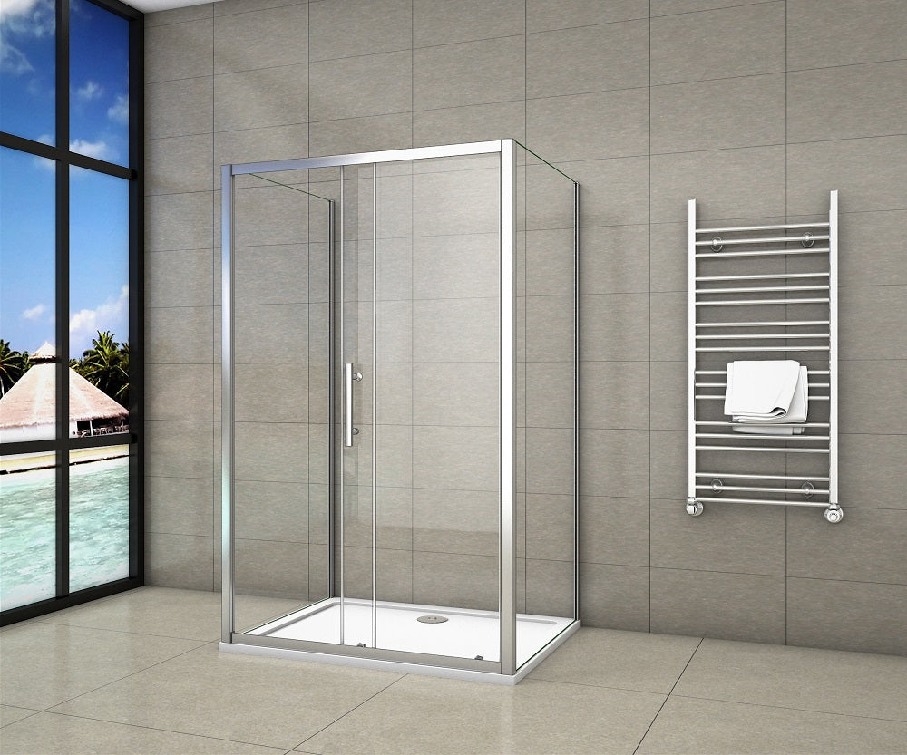 Sliding shower enclosures Glass Door Rectangle  1000-1700mm Chrome Frame