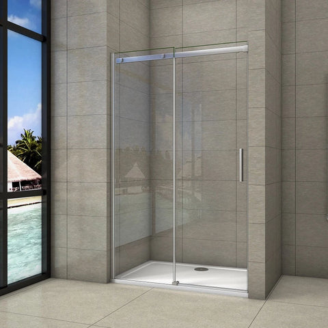 Sliding Shower Door Chrome 6mm Glas 195cm height, side panel Optional