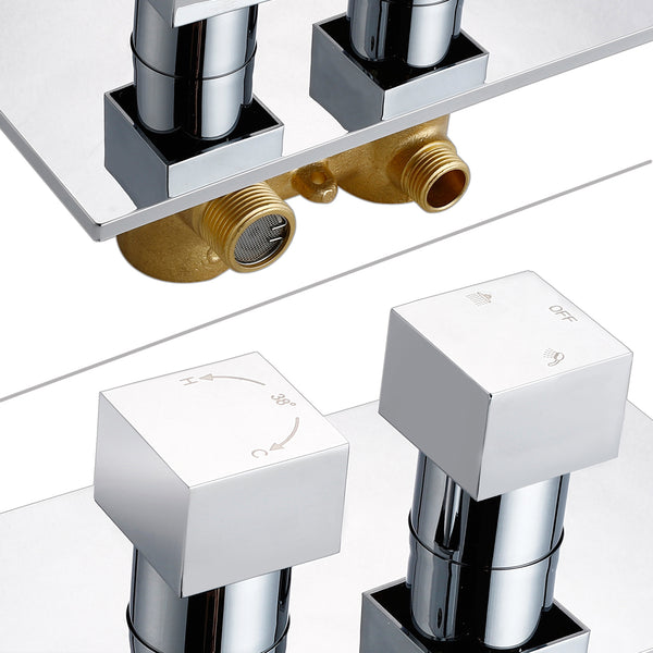 AICA Concealed 2 dial 2 way Chrome Thermostatic Shower Mixer Valve Solid Brass WRAS