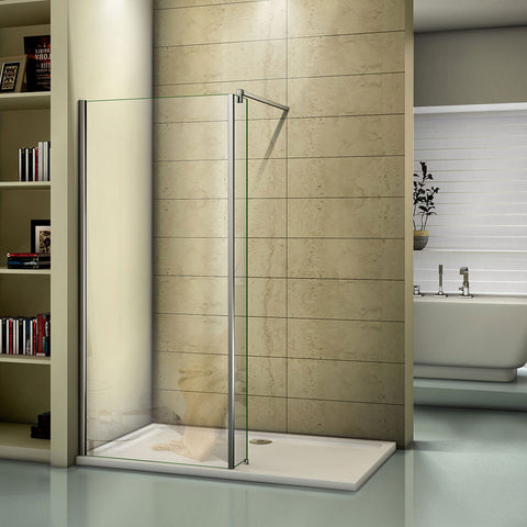 Luxury 1850mm Height Walk in Shower Enclosure Panel 8mm Glass Screen Tray V9