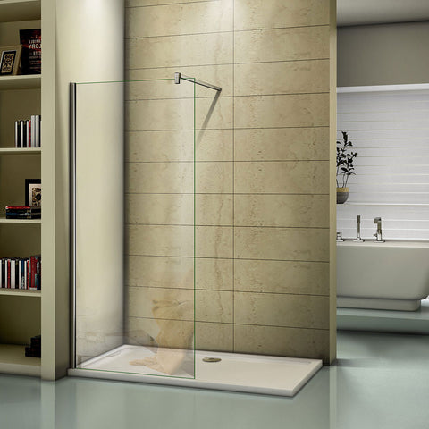 Walk In Shower Screen Tray 1950mm Height 1000-1400mm Chrome 8mm EasyClean Glass