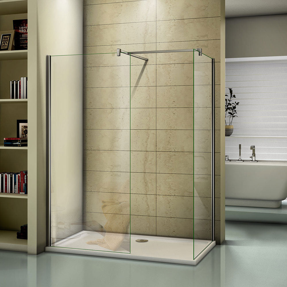 Walk in EasyClean Shower Screens Two Chrome 8mm 1950 height,700-1400mm Various sizes Optional