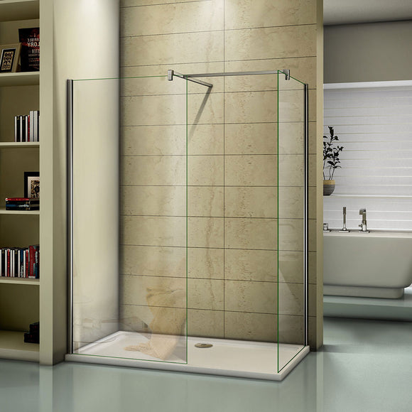 Two Chrome 8mm Walk in EasyClean Shower Screens 1950 height,700-1400mm Various sizes Optional