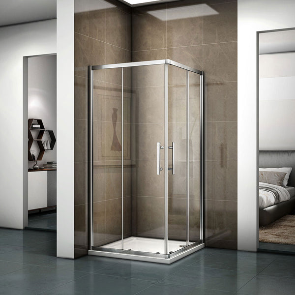 700-1200mmx1850 Chrome Double Doors,Corner entry sliding shower cubicle,Tray Optional