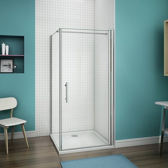 700-1000mm Frameless Pivot Shower Door,700-900mm side panel,Tray Optional