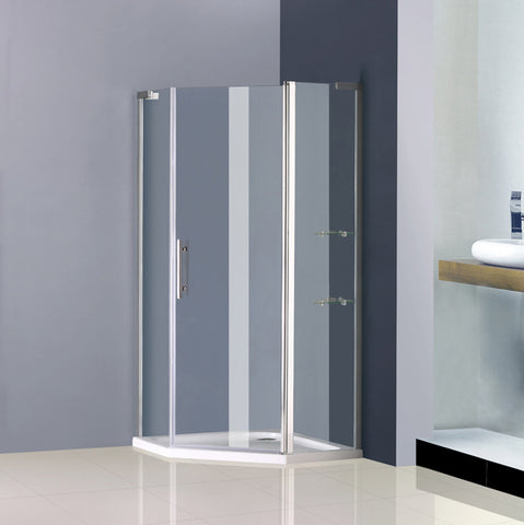 900x900mm Frameless pivot Pentagon cubicle,Shower tray Optional