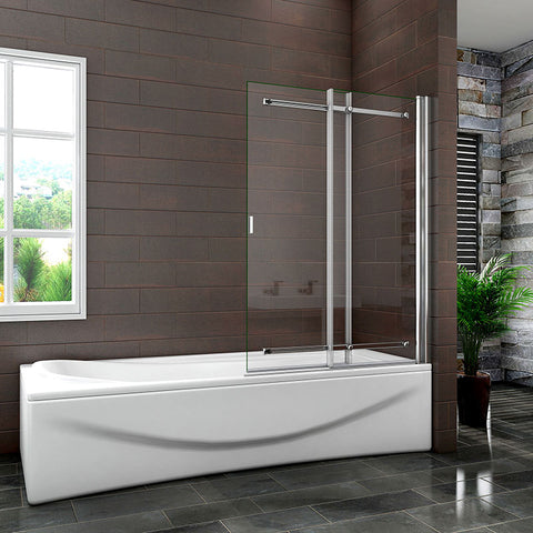 L.90cm x H.140cm Chrome pivot Sliding Bath Shower Screen