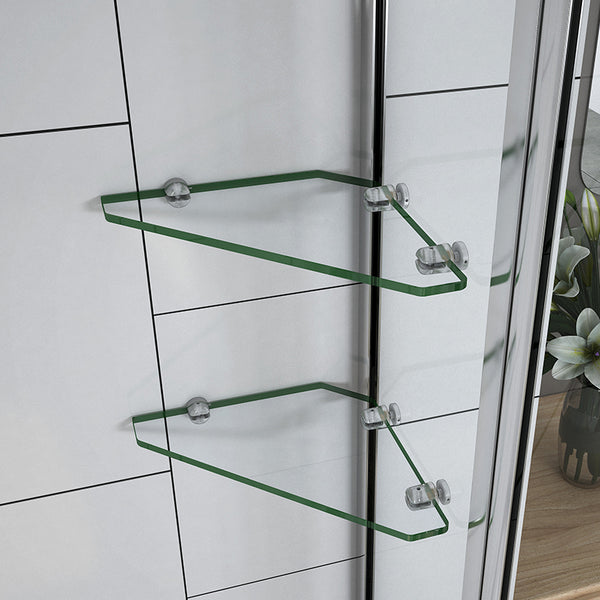 Pivot Shower Bath Screen Easyclean glass with shelves 1000 x 1500 mm Chrome