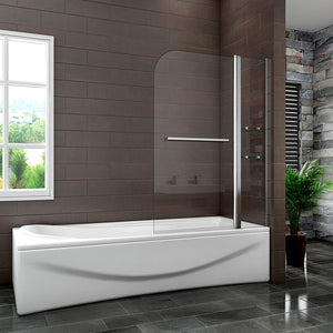 1000 x 1500 mm Chrome Pivot Shower Bath Screen Easyclean glass with shelves