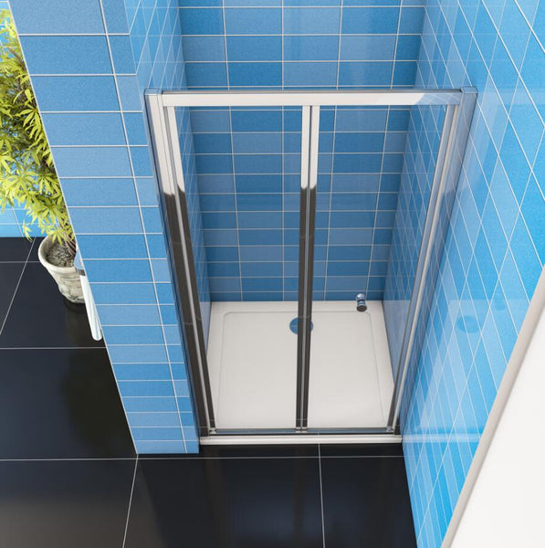 Bi fold Shower Door Enclosure Cubicle  700-1000W x 1850H Stone Tray Optional
