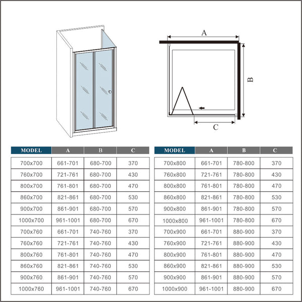 Chrome,bifold shower rectangle enclosures,shower tray,shower door