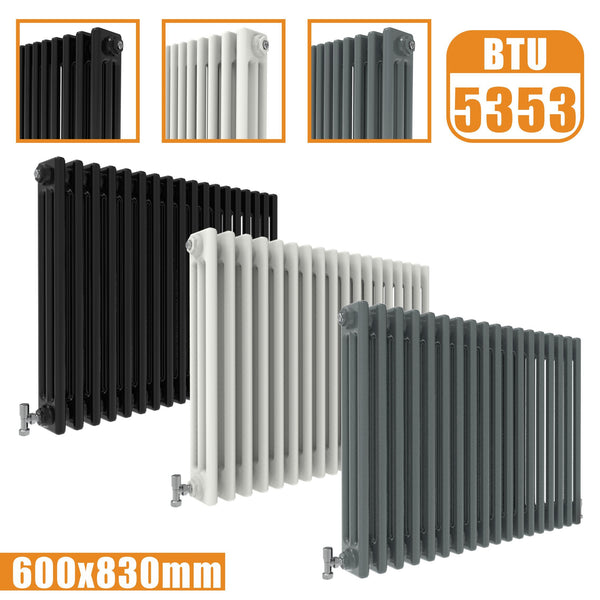 3Column Traditional Cast Iron Style radiator Horizontal 600x830 White Anthracite Vintage AICA Rads