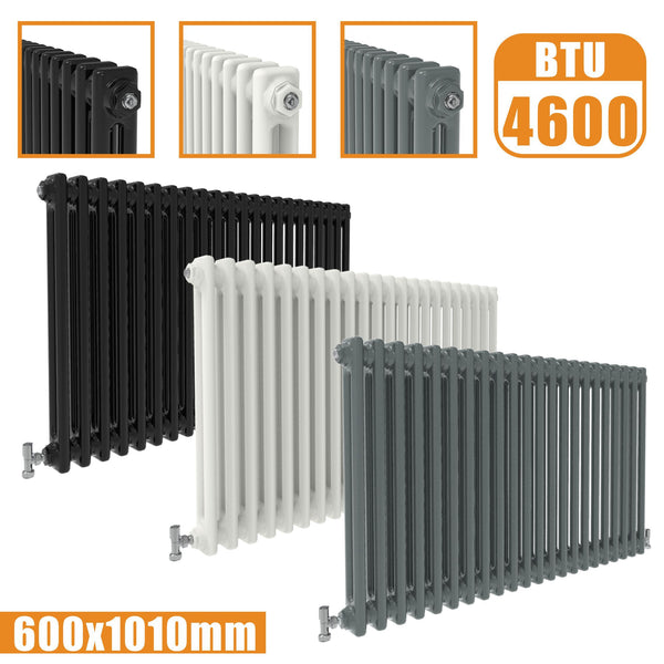 2Column Traditional Cast Iron Style radiator Horizontal 600x1010 White Anthracite Vintage AICA Rads