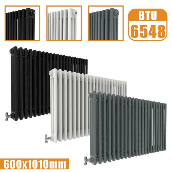 3Column Traditional Cast Iron Style radiator Horizontal 600x1010 White Anthracite Vintage AICA Rads