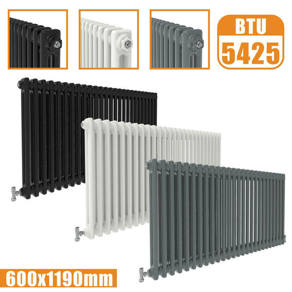 2Column Traditional Cast Iron Style radiator Horizontal 600x1190 White Anthracite Vintage AICA Rads