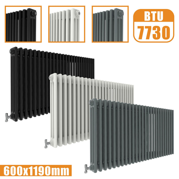 3Column Traditional Cast Iron Style radiator Horizontal 600x1190 White Anthracite Vintage AICA Rads