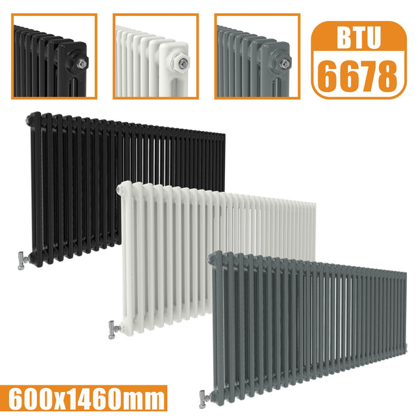 2Column Traditional Cast Iron Style radiator Horizontal 600x1460 White Anthracite Vintage AICA Rads