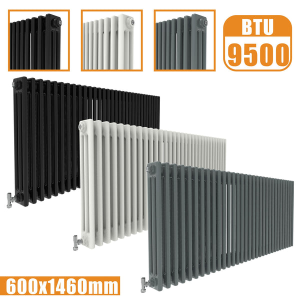3Column Traditional Cast Iron Style radiator Horizontal 600x1460 White Anthracite Vintage AICA Rads