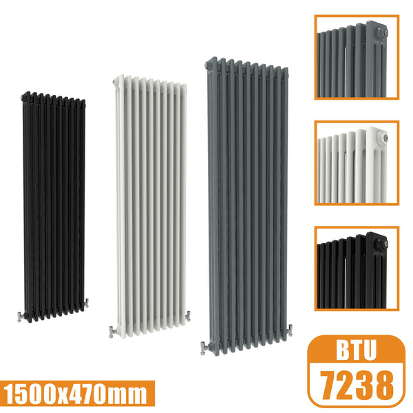 3Column Traditional Cast Iron Style 1500x470 Radiator Vertical Tall Vintage AICA Rads