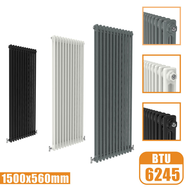 2Column Traditional Cast Iron Style 1500x560 Radiator Vertical Tall Vintage AICA Rads