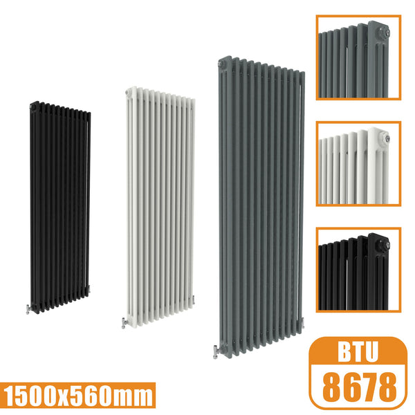 3Column Traditional Cast Iron Style 1500x560 Radiator Vertical Tall Vintage AICA Rads