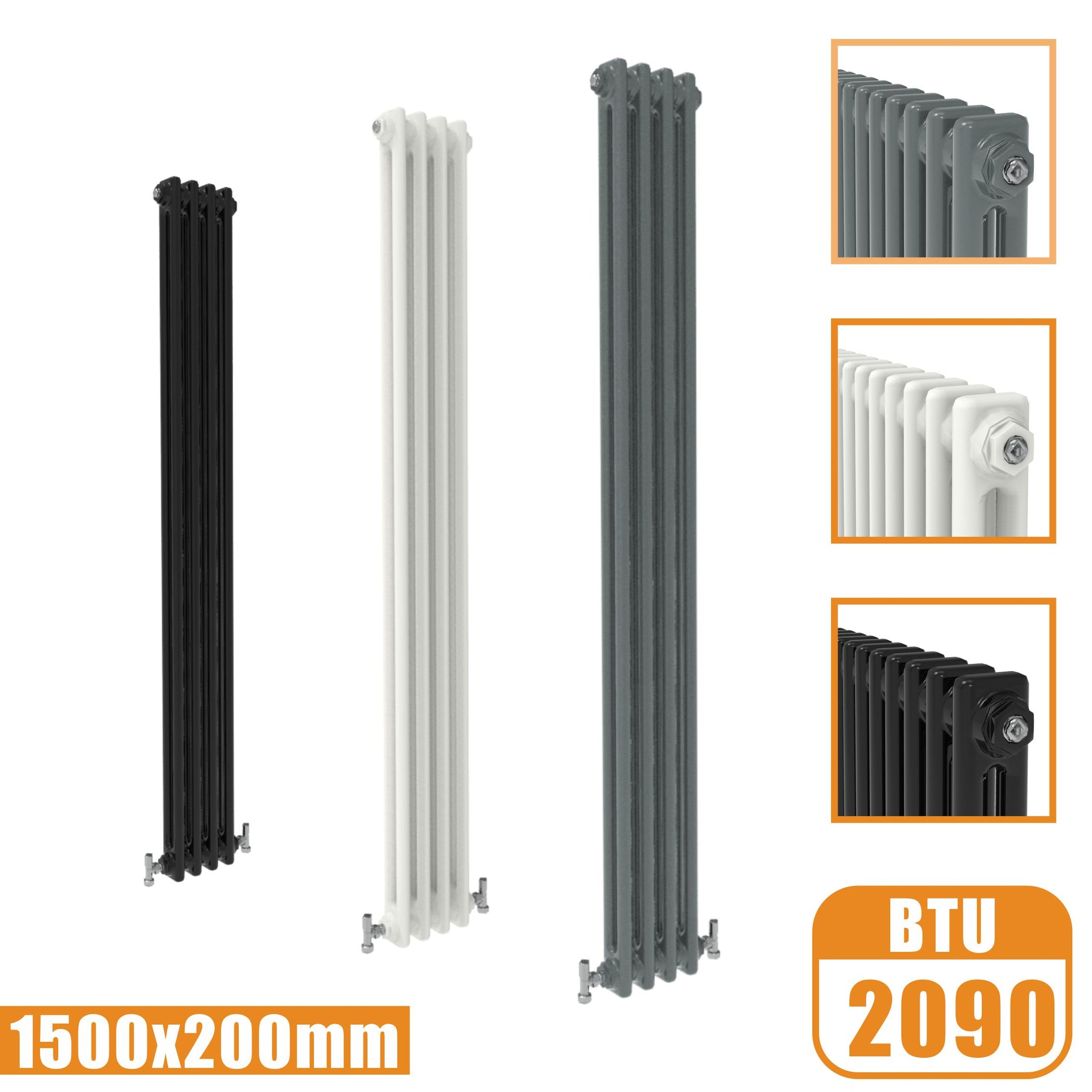 2Column Traditional Cast Iron Style 1500x200 Radiator Vertical Tall Vintage AICA Rads