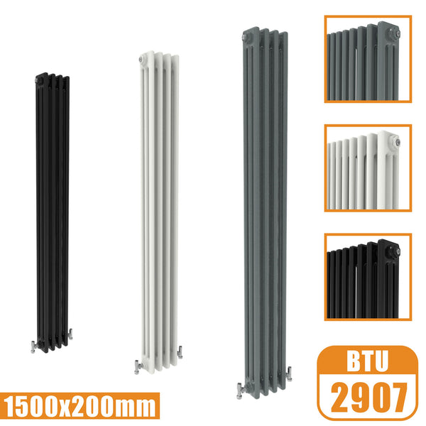 3Column Traditional Cast Iron Style 1500x200 Radiator Vertical Tall Vintage AICA Rads