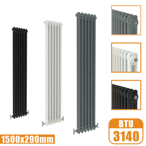 2Column Traditional Cast Iron Style 1500x290 Radiator Vertical Tall Vintage AICA Rads