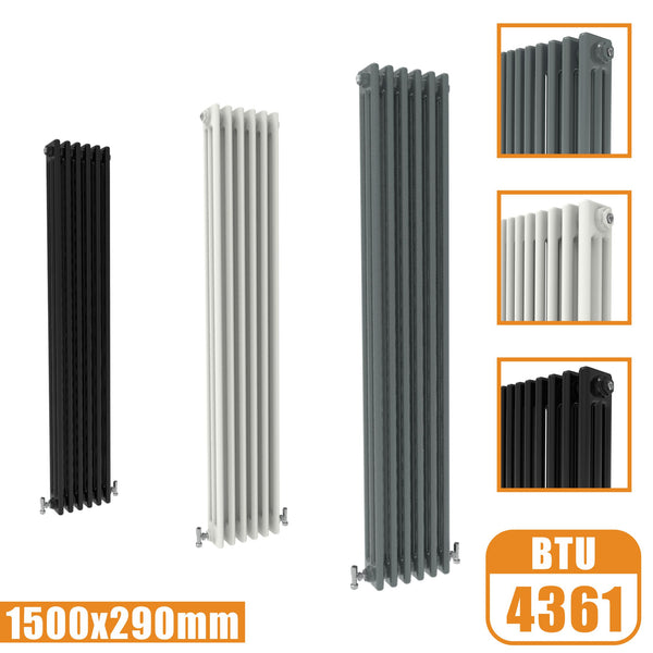 3Column Traditional Cast Iron Style 1500x290 Radiator Vertical Tall Vintage AICA Rads
