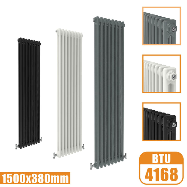 2Column Traditional Cast Iron Style 1500x380 Radiator Vertical Tall Vintage AICA Rads