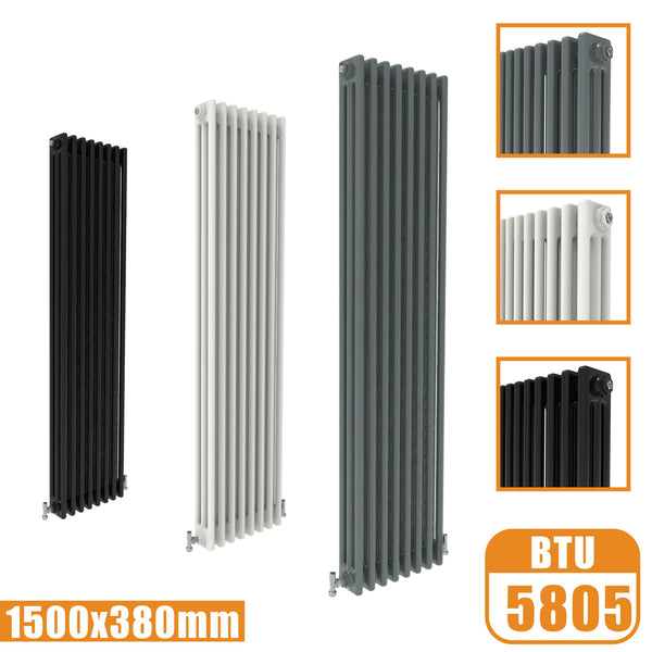 3Column Traditional Cast Iron Style 1500x380 Radiator Vertical Tall Vintage AICA Rads