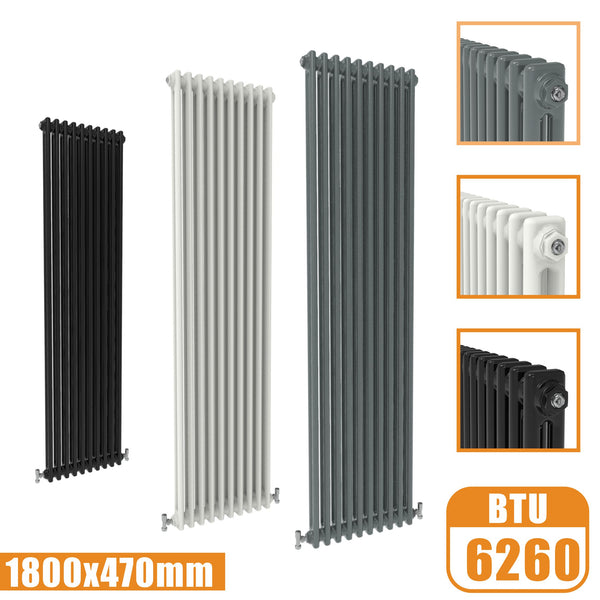 2Column Traditional Cast Iron Style 1800x470 Radiator Vertical Tall Vintage AICA Rads