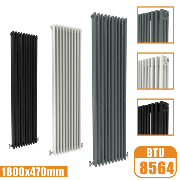 3Column Traditional Cast Iron Style 1800x470 Radiator Vertical Tall Vintage AICA Rads