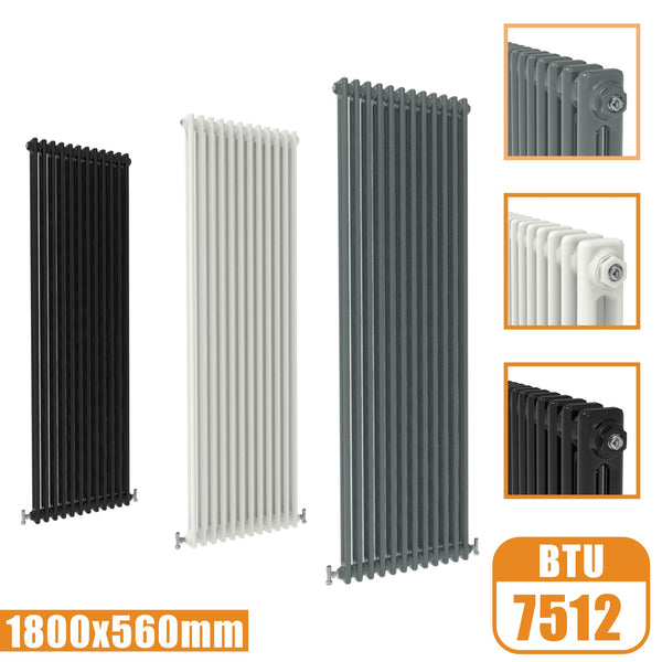 2Column Traditional Cast Iron Style 1800x560 Radiator Vertical Tall Vintage AICA Rads